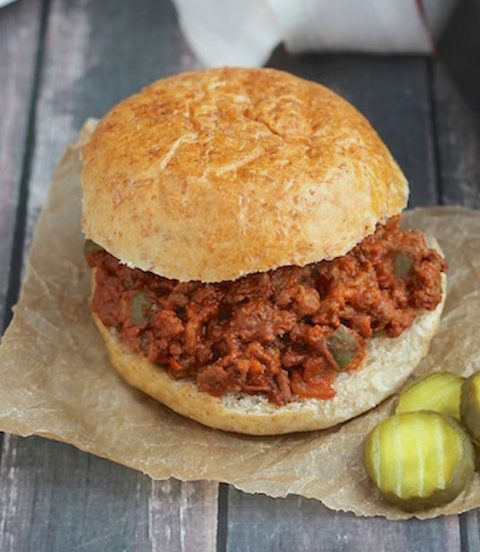 Easy Sloppy Joe with pickles on the side.