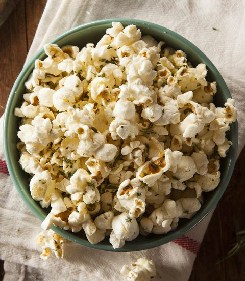 Bowl of flavored popcorn.