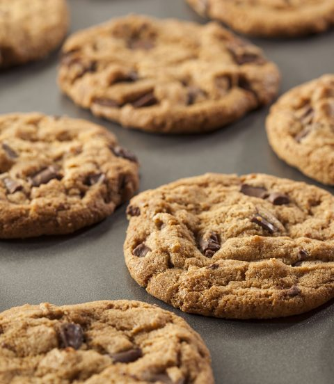 Outrageous soy nut butter chocolate chip cookies baked on a cookie sheet.