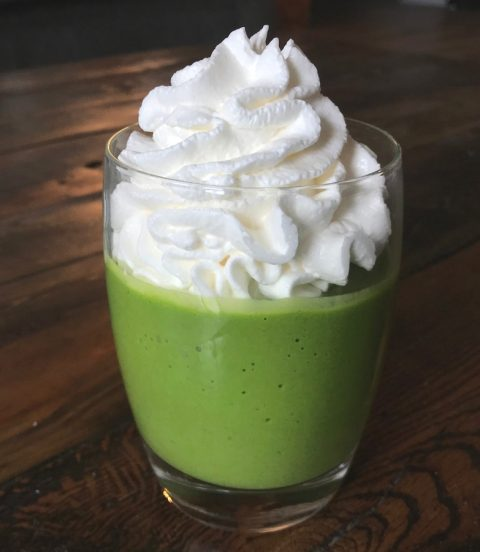 Healthy, green, minty shake topped with whipped cream.