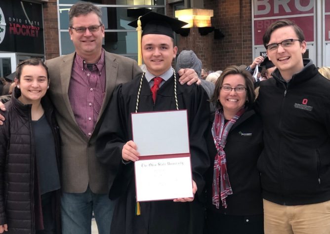 Adam Vonderhaar and his family at his graduation from The Ohio State University.