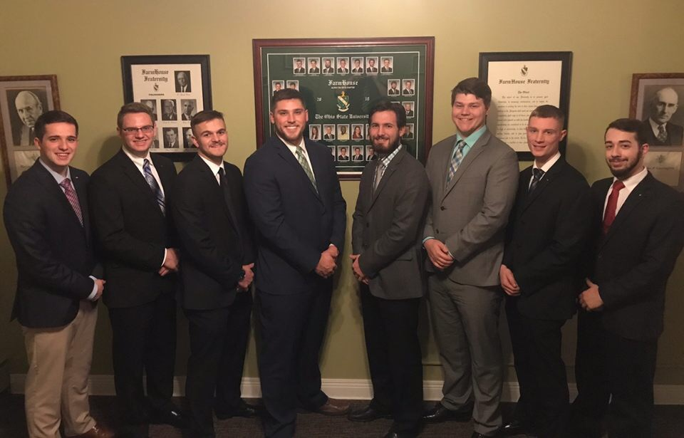 Matthew with his Farmhouse fraternity leadership team.