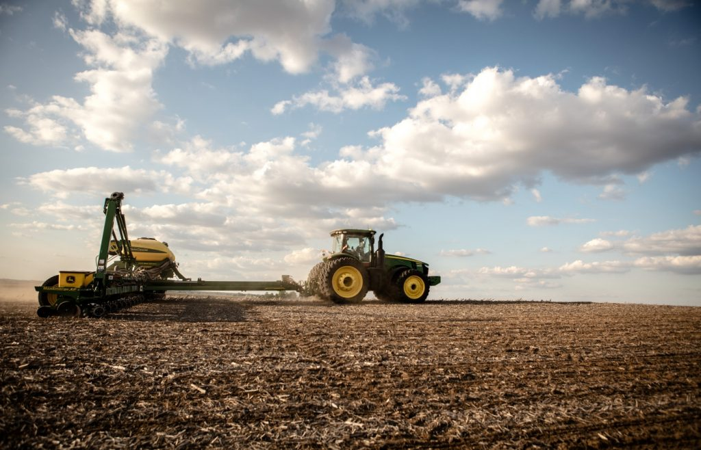 Autosteer used on a farm field to plant seeds.